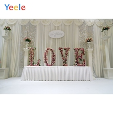 Yeele Vinyl White Curtain Flowers Romantic Wedding Photocall Photography Background Love Photographic Backdrop Photo Studio