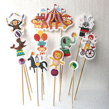 Felice Circo Cake Toppers Bambini Festa di Compleanno Forniture Candy Bar Decorazioni di Carta Baby Shower Decor Scimmia Pagliaccio(China)