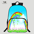 FEIHENG Brand Popular Fashion Polyester 16 Inch Printing Rainbow European Style Boy Bookbag Kids Baby School Bags Women Backpack