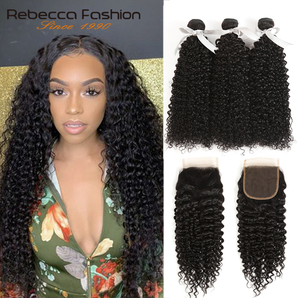 Malaysian Jerry Curly Bundles With Closure Afro Kinky Curly Human Hair Weave 2 3 Bundles With Lace Closure Non-remy Rebecca Hair