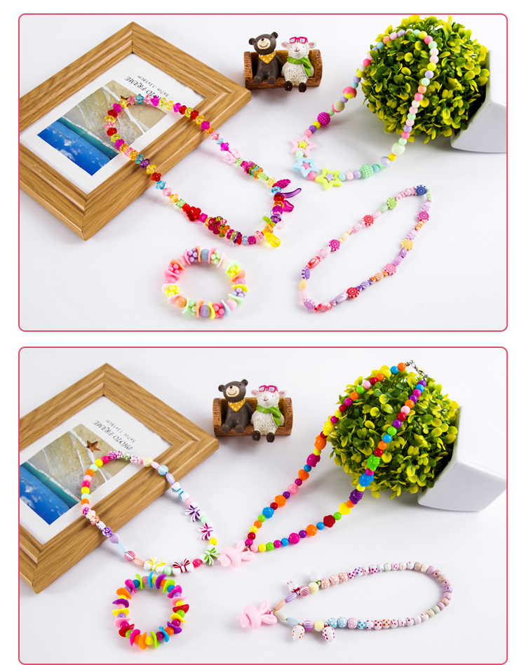 DIY Bead Mainan dengan Aksesori Set Kreatif Gadis Perhiasan Membuat Mainan Edukasi Mainan Anak Hadiah