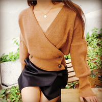 2017 Women S Autumn Winter Solid Long Sleeve V Neck Double Breasted Cardigan Knitting Sweater Lady