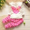 Ropa de las muchachas fija 0-7Y manga larga lindo mickey establece niños niñas ropa de bebé conjuntos infantis menina minnie ropa de bebe