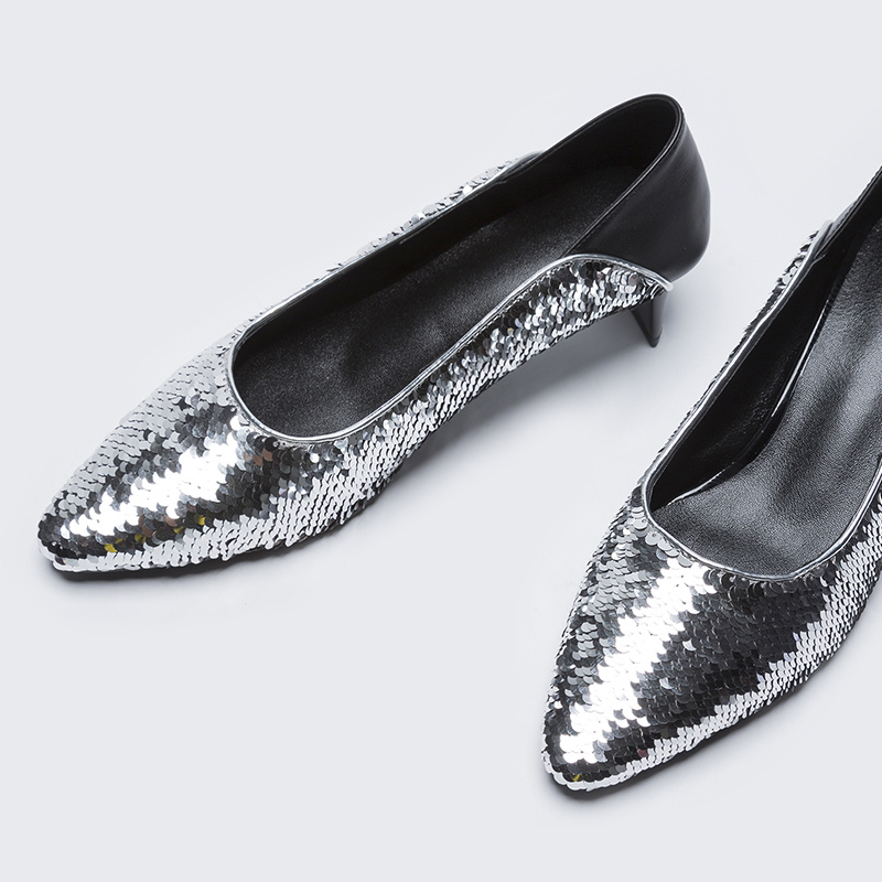 Paillettes Faible Chaussures Argent Pointu Parti Nouveau Été Sexy Dames Printemps Talons Tissu Mode Silver Pompes Ville Femmes Fun Bout xqzwPCp4g