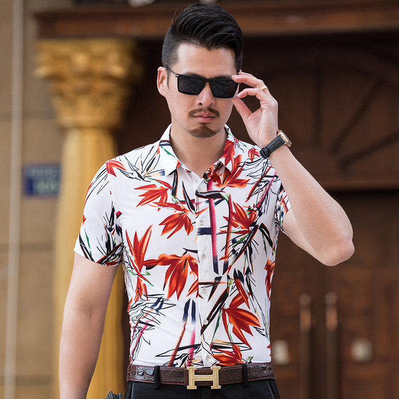 2018 mode Herren Kurzarm hawaiihemd Sommer Casual Shirts Floral