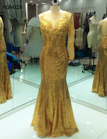 Gold Long Evening Dress 2018 Mermaid Beaded Sequin One Sleeves African Women Long Formal Party Evening