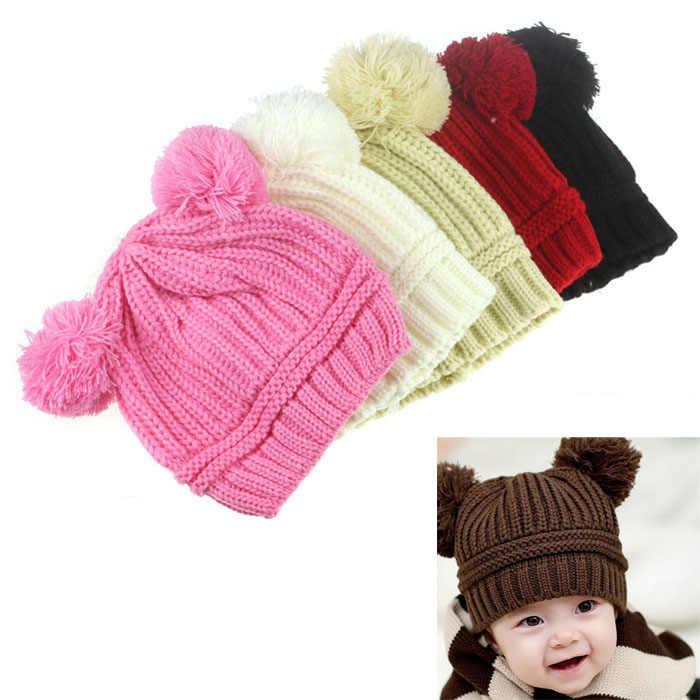 เด็กทารกเด็กผู้หญิงคู่ฤดูหนาวที่อบอุ่นถักหมวก Beanie หมวกเด็กแรกเกิด Prop ขนาดฟรีพอดีสำหรับ 6 ~ 18M #30