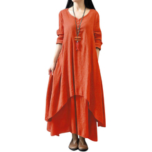 Women Vintage Maxi Dress Women Pure Color V-Neck Long Sleeve Irregular Hem Boho Dress Casual Long Loose Plus Size Dress Autumn