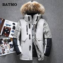 Batmo 2018 Новое поступление зима высокое качество белая утка вниз енота меховым воротником куртки с капюшоном мужчин, мужская теплая куртка 1798
