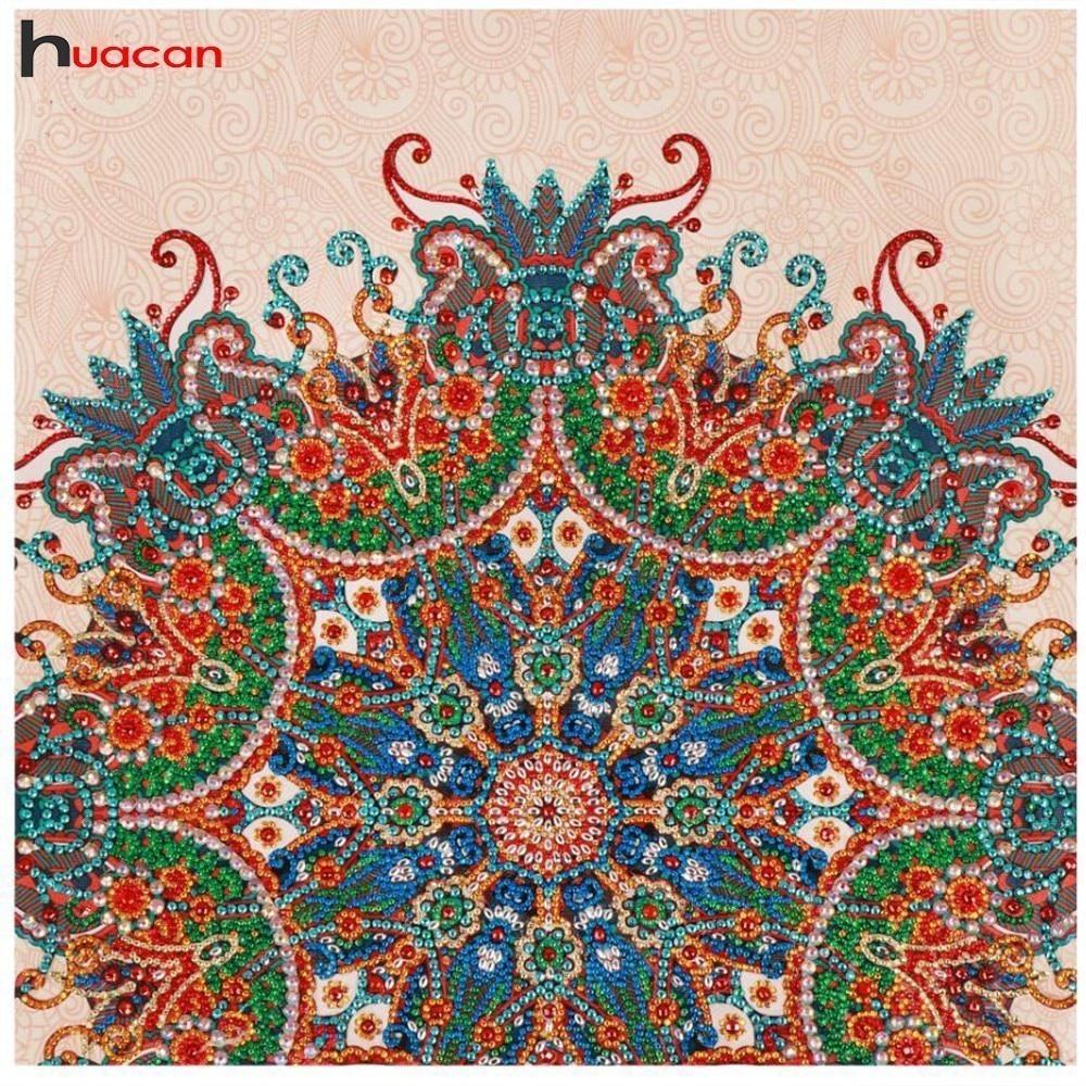 Huacan Diamond Embroidery Flower Special Shaped Diamond Painting Needlework Rhinestone 3d Drill DIY Mosaic Painting