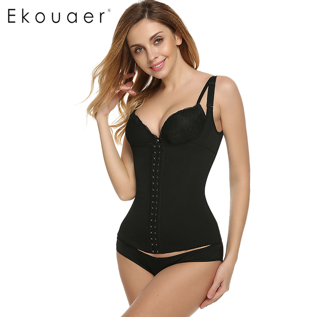 65043ce5968bb Ekouaer Women Bodysuits Shapewear Body Shaper Adjustable Straps Waist  Corsets Black Plus Size Cincher High-elastic Tops