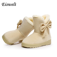 2015 New Arrival Hot Sale Women Boots Solid Bowtie Slip On Soft Cute Women Snow Boots