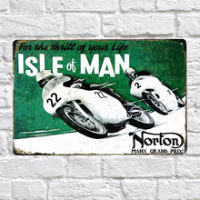 Vintage Style Isle of man Motorcycles Decorative Metal Signs 20x30cm iron Painting Bar Pub Wall Art Metal Plates Wall Decor