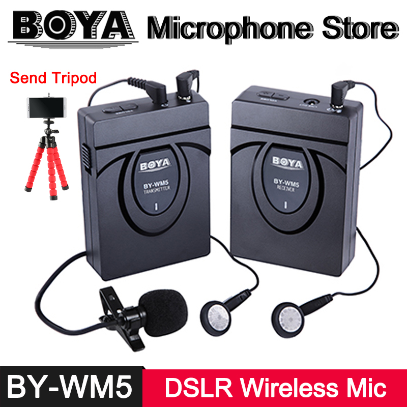 BOYA BY-WM5 2.4 GHz GFSK Wireless Lavalier Microphone for Canon Nikon Sony Panasonic DSLR on Camera Camcorder Audio Recorder Mic boya by wm5 dslr camera wireless lavalier microphone recorder system for canon 6d 600d 5d2 5d3 nikon d800 sony dv camcorder