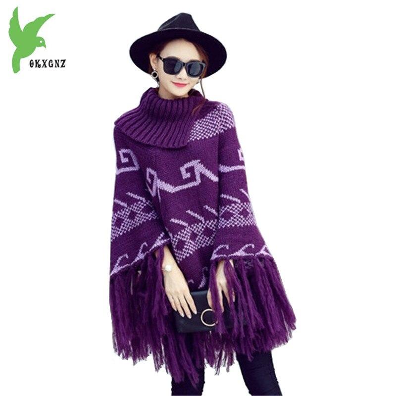 Cloak Jackets Women's Autumn Winter Knitted Sweaters Fashion Tassel Jacquard Shawl Coats Thick Warm Pullover Sweaters OKXGNZ1380