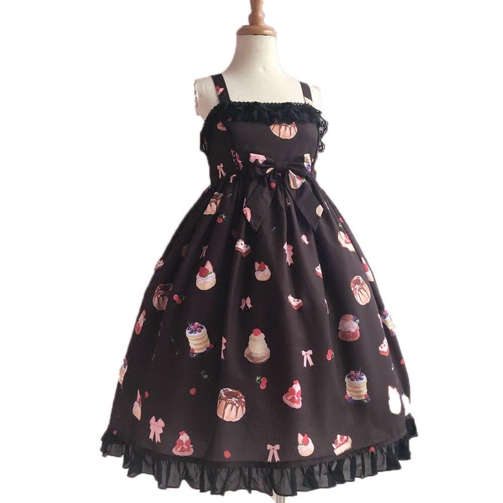 Sweet Strawberry and Desert Printed Lolita Casual JSK Dress Sleeveless Chiffon Midi Dress by Yiliya