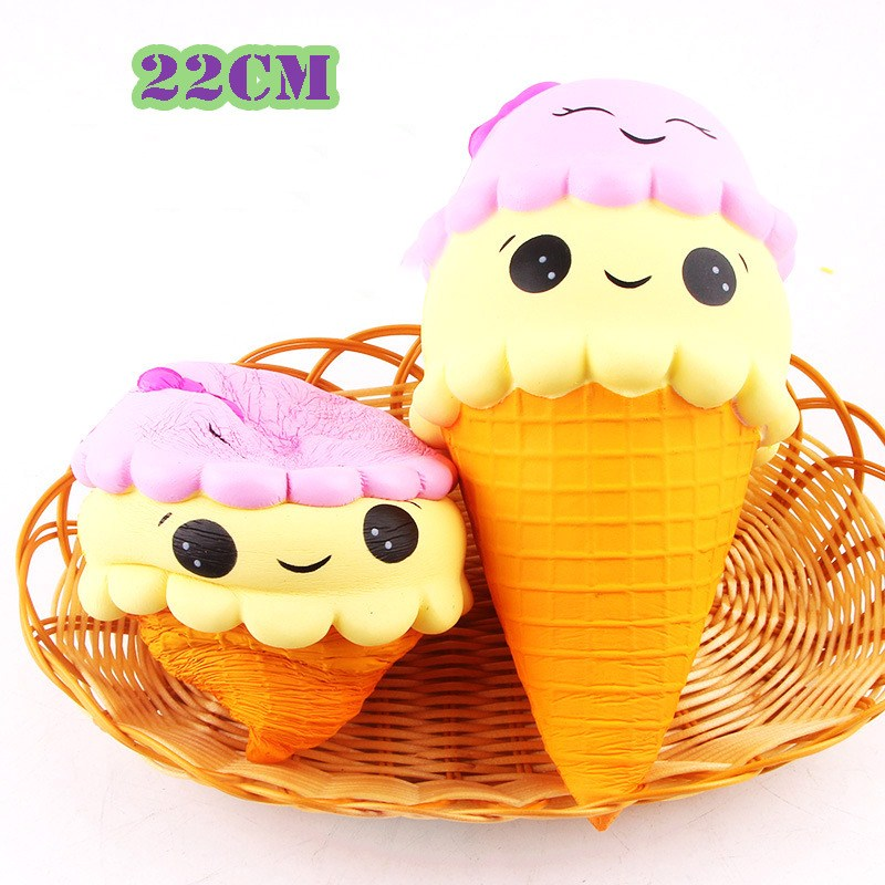 1pc 22cm Jumbo Squishy Ice Cream Slow Rising Toys Cute Cartoon Scented Stress Relief Squeeze toys Soft Funny Toy For Kids #CS