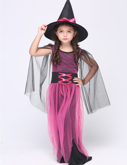 Rosered and Black Halloween Costumes Girl Black Fly Witch Costume Dress and Hat Party Cosplay Clothing for Kids Girl Children