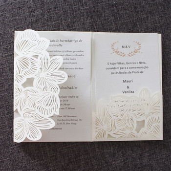 Gold invitations transparent envelope floral laser cut wedding announcement personalized printing invitation manufacturer supply