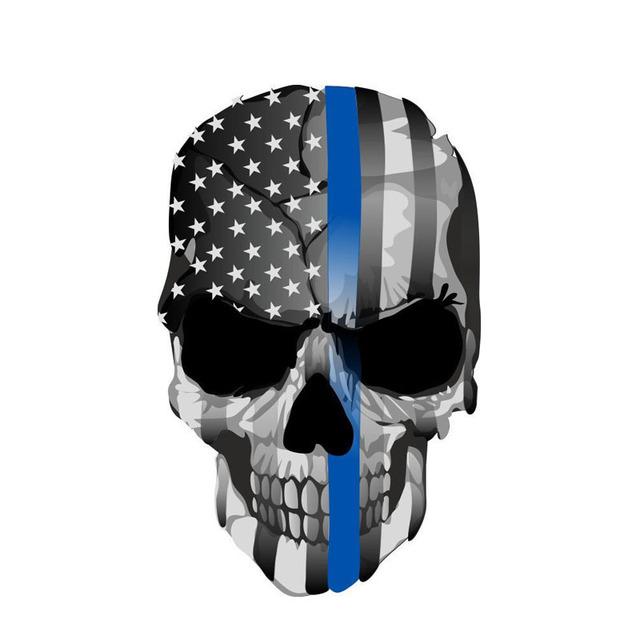 10.8CM*17CM AMERICAN FLAG SKULL STICKERS