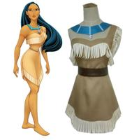 Princess Pocahontas Indian Cosplay Costume Dress Halloween Outfit Adult Women