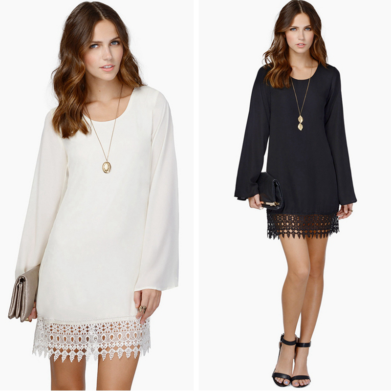 Womens Chiffon Dress Long Sleeve Lace Casual Black White Mini Dress Summer Clothes Loose Vestidos