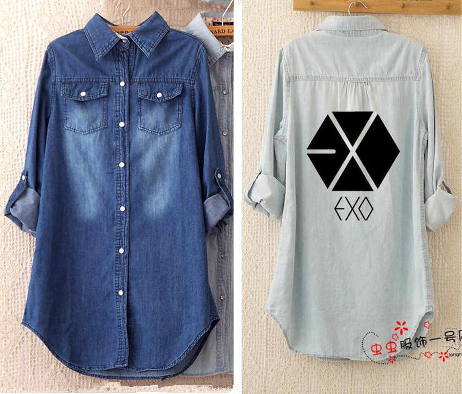 k-pop Hot 2017 Fall Winter New EXO Korean Long-Sleeved Jacket Coat Loose Casual Denim Women Student Lovers kpop EXO-K EXO-M -L