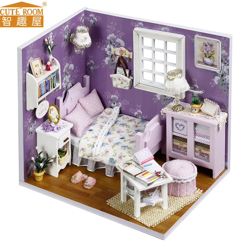 DIY Wooden House Miniaturas with Furniture DIY Miniature House Dollhouse Toys for Children Birthday and Christmas Gift H01