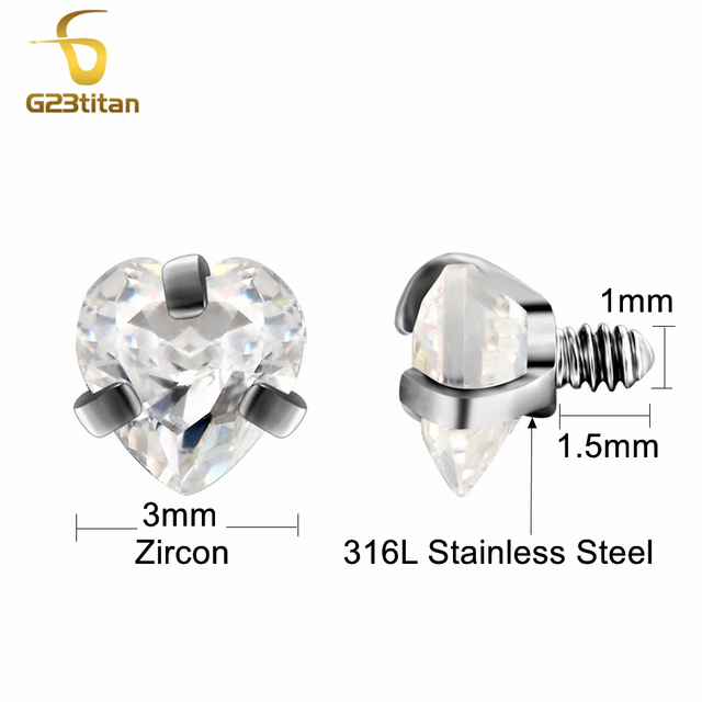 G23titan Body Piercing Ball 16G Internally Threaded Heart Style Lip Eyebrow Tongue Belly Navel Ring Body Jewelry Piercing Parts 1