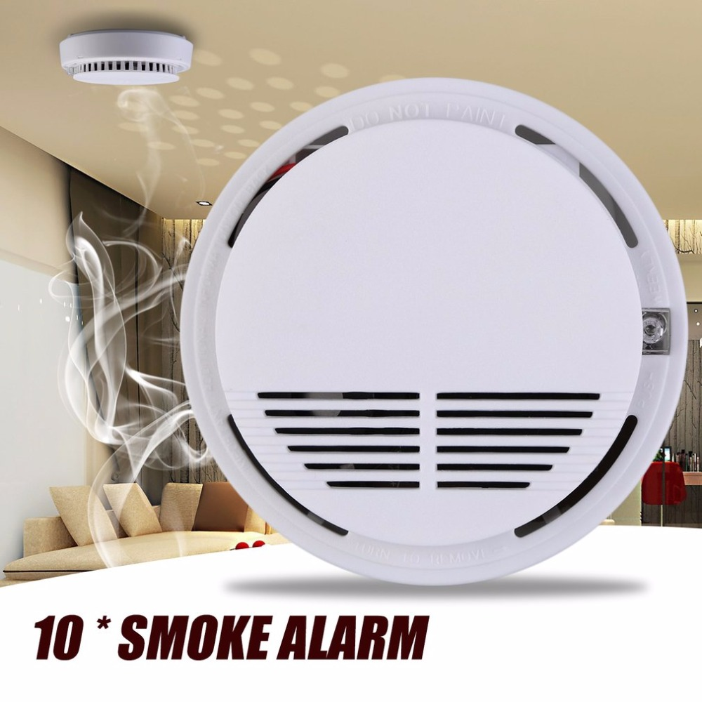 10pcs High Sensitivity Wireless Photoelectric Smoke Detector High Sensitive Stable Fire Alarm Sensor Monitor for Home Security wireless smoke fire detector for wireless for touch keypad panel wifi gsm home security burglar voice alarm system