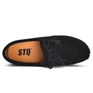 Image 4 - STQ 2020 sonbahar kadın Flats kadın deri süet saçak platformu Sneakers kalın topuk rahat tekne ayakkabı bayanlar loafer ayakkabılar 912