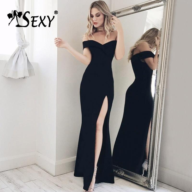 4ca7c303ee827 Gosexy Sexy Off Shoulder Slash Neck Backless Split Midi Pretty Autumn Women  Lady Bandage Party Dress Vestidos 2017 New Arrival