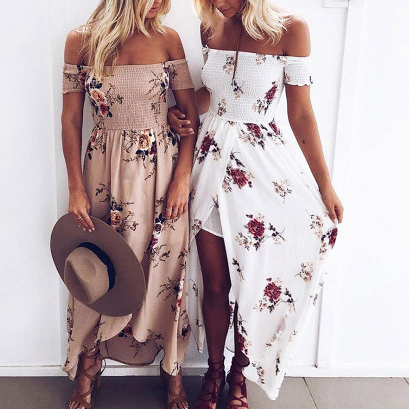 Bohemian Off Shoulder Seaside Flora Printed Beach Dress Ethnic Summer Asymmetrical Backless Ankle Length Dress Female Clothes in Dresses from Women 39 s Clothing