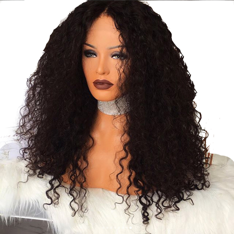 DLME Afro Kinky Curly Wig Middle Part Heat Resistant Hair 180 Density Synthetic Lace Front Wig with Baby Hair for Women