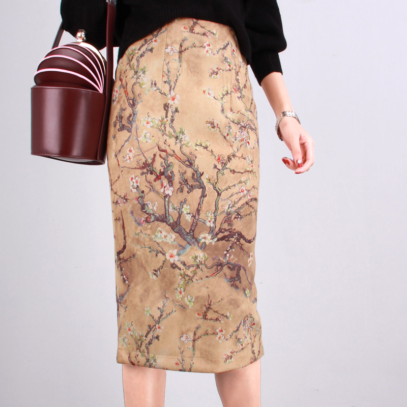 S 2XL Women New 2019 Chinese Style High Waist Fashion Suede Knee length Skirts Print Ladies Pencil Skirts Vintage