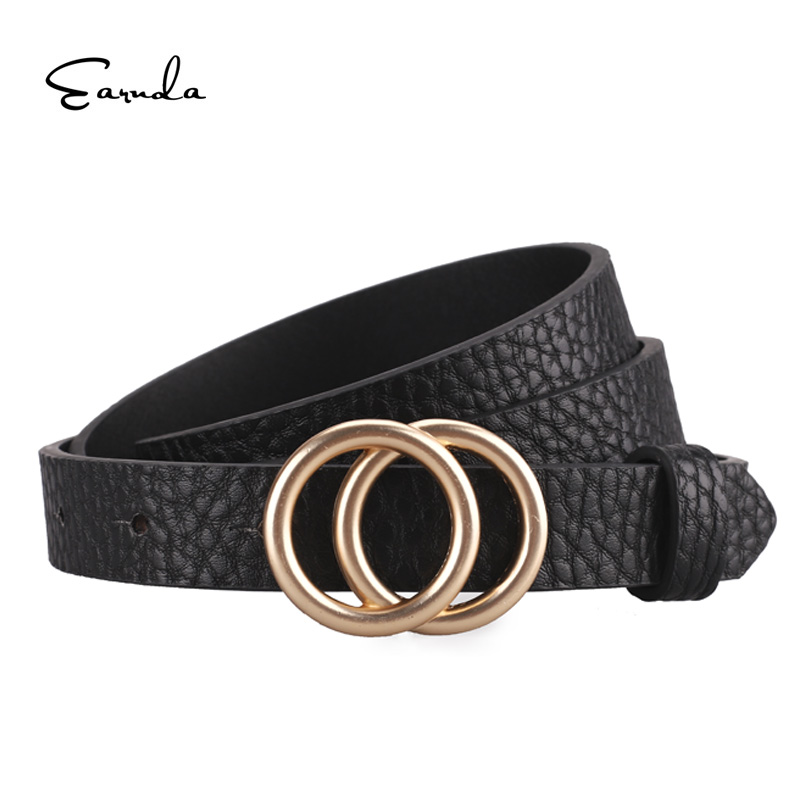 Earnda Designer Women's   Belt   Gold Buckle Waist   Belts   For Women's Jeans Skinny Leather Strap High Quality Cinturon Mujer
