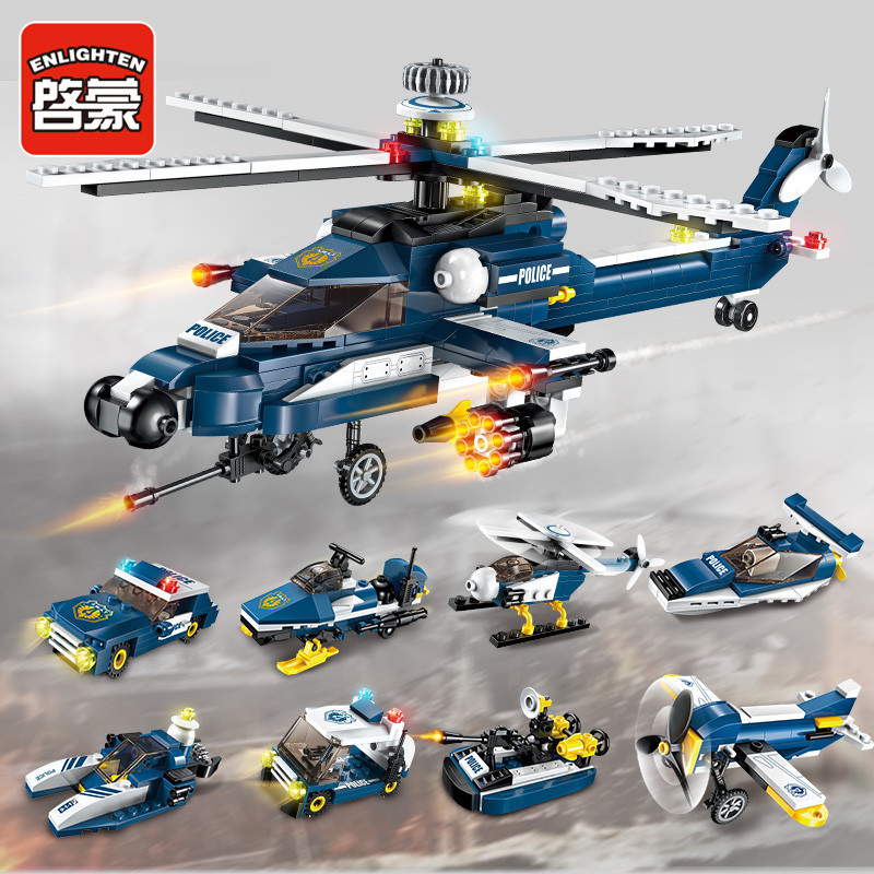 Enlighten 381Pcs 8 IN 1 City Police Fighter Building Blocks Sets Storm Armed Helicopter LegoINGLs Bricks Toys for Children