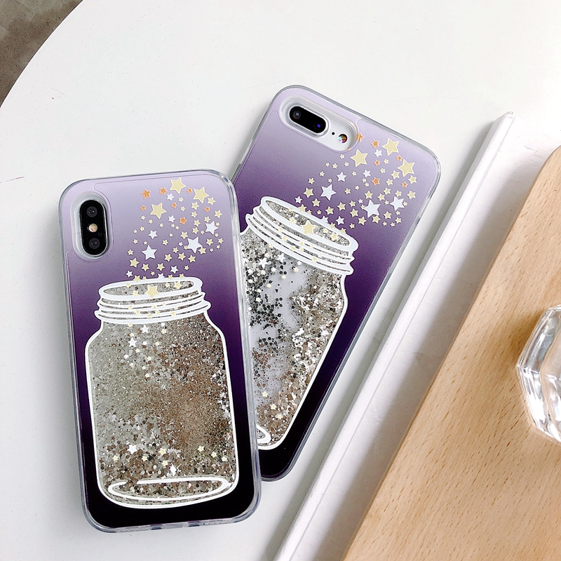Liquid quicksand wishing star mobile phone shell case cover for iPhone X XR XS MAX For iPhone 7 8 6s plus phone back coque funda in Fitted Cases from Cellphones Telecommunications