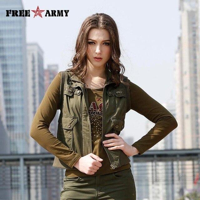 New Design Fashion women vest army green Cotton Short Sleeveless Mandarin Collar Outerwear Waistcoat Free Shipping GS-876