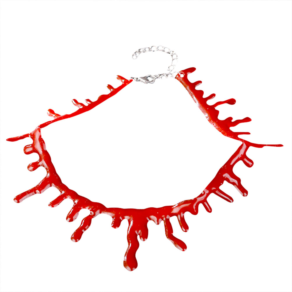 Simulation Bleeding Necklace COS Demon Nurse Halloween Horror Ornaments  Bloody Cut Fake Blood Scars Makeup Jewelry Masks For Mens For Masquerade  Ball
