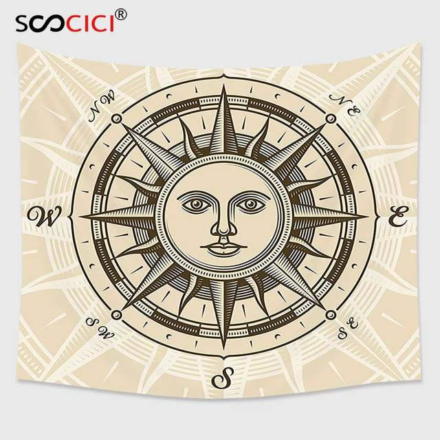 Cutom Tapestry Wall HangingCompass Decor Collection Vintage Compass Rose With Sun Shape Human Face