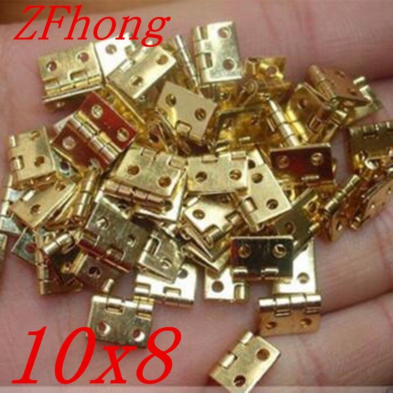 100PCS 10*8MM Mini Cabinet Drawer Butt Hinge Copper Gold Small Hinge 4 Small Hole Hinge butt plug gold small