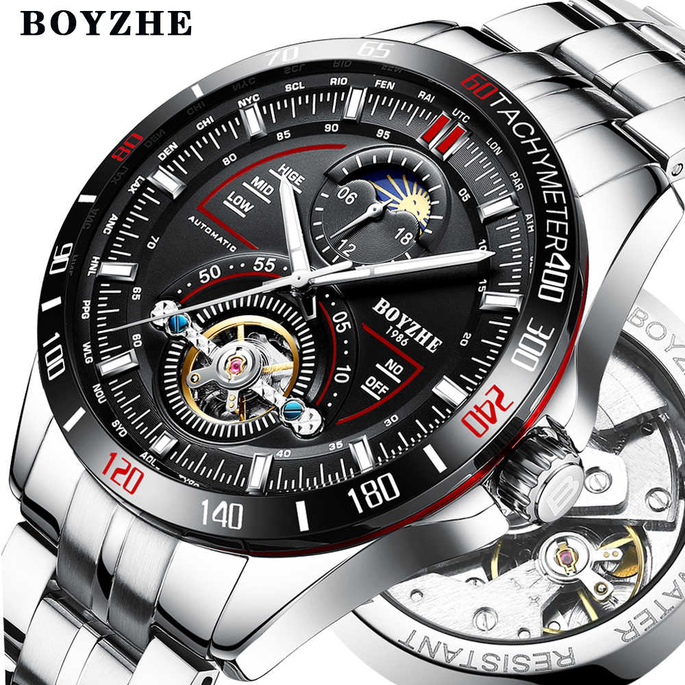 3b6e7a3ef0d3 BOYZHE mecánico automático para hombres de moda marca relojes Tourbillon  Luna fase reloj de acero inoxidable