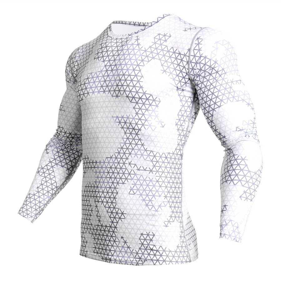Kompresi Kamuflase Lengan Panjang Kemeja Pria Ketat T-shirt Pria Kebugaran 3D Cepat Kering Pakaian MMA K Berlaku Kebugaran t-shirt