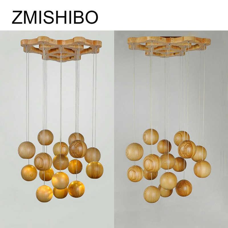 ZMISHIBO деревянный Художественный кулон круглый светильник сферической светило шнур подвесной светильник Современный светодио дный E27 светильники для Гостиная
