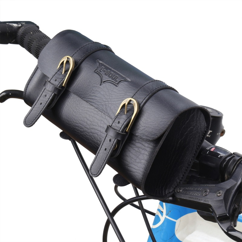Retro Bicycle Tail Bag PU Leather Cycling Bag <font><b>Saddle</b></font> Pouch Rear Pannier Personalized Riding Vintage <font><b>Bike</b></font> Bag Bicycle Accessories image