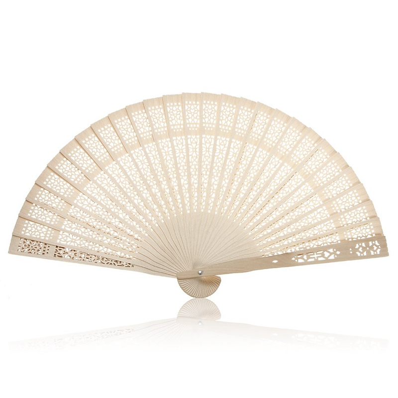 Summer Vintage Folding Bamboo Wooden Carved Hand Fan Wedding Bridal Party