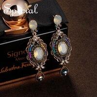 Special Fashion Natural Opal Earrings European Style Long Earrings Big Waterdrop Vintage Earrings Gifts For Women