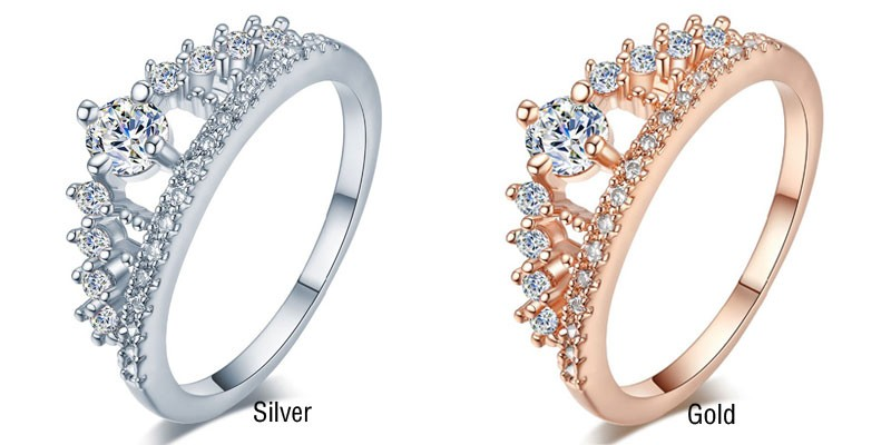 Engagement Party Ring New Fashion Crystal Rhinestone Crown Rings For Women Party Cute Elegant Luxury Sliver Plated Rings 4