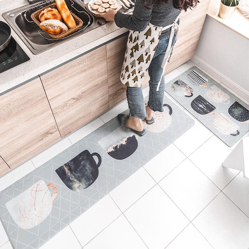 Tapis doux de cuisine de Style nordique délicat de PVC pour des tapis de couloir de plancher de chambre à coucher